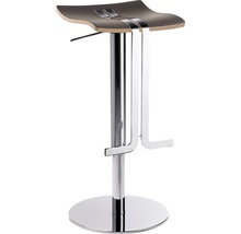Tabouret de bar Mayer Sitzmöbel myWAVE 1208-01-85 34x39x58-86 cm piètement chrome assise cuir moka-thumb-0