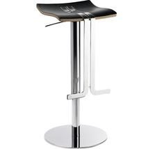 Tabouret de bar Mayer Sitzmöbel myWAVE 1208-01-87 34x39x58-86 cm piètement chrome assise cuir noir-thumb-0