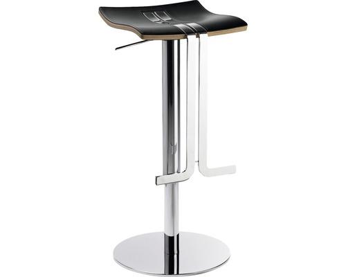 Tabouret de bar Mayer Sitzmöbel myWAVE 1208-01-87 34x39x58-86 cm piètement chrome assise cuir noir-0