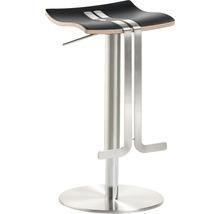 Tabouret de bar Mayer Sitzmöbel myWAVE 1208-04-87 34x39x58-86 cm piètement aspect acier inoxydable assise cuir noir-thumb-0