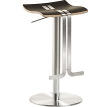 Tabouret de bar Mayer Sitzmöbel myWAVE 1208-04-85 34x39x58-86 cm piètement aspect acier inoxydable assise cuir moka-thumb-0