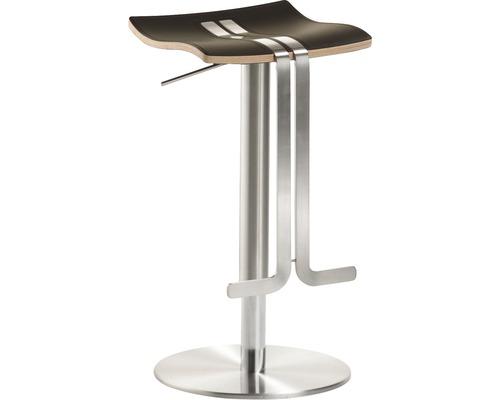 Tabouret de bar Mayer Sitzmöbel myWAVE 1208-04-85 34x39x58-86 cm piètement aspect acier inoxydable assise cuir moka-0