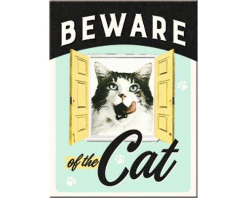 Aimant décoratif Beware of the Cat 6x8cm