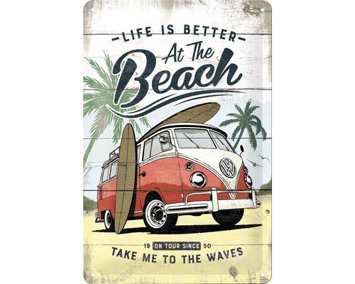 Plaque en tôle VW Bulli Beach 20x30cm