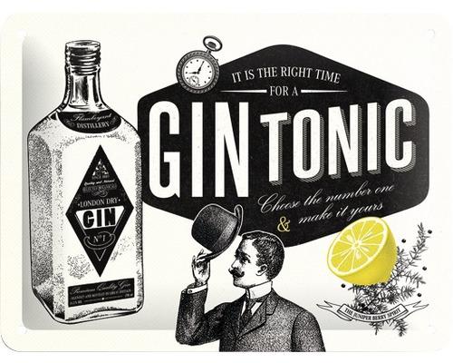 Plaque en tôle Gin Tonic 15x20cm