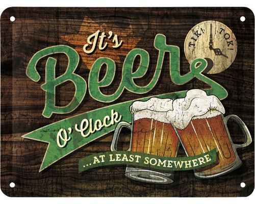 Plaque en tôle Beer O''Clock 15x20cm