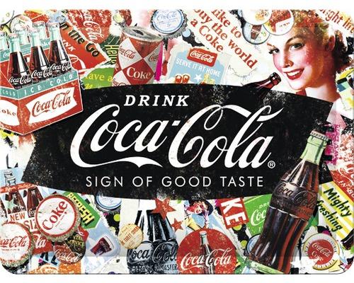 Plaque en tôle Coca-Cola Collage 15x20cm