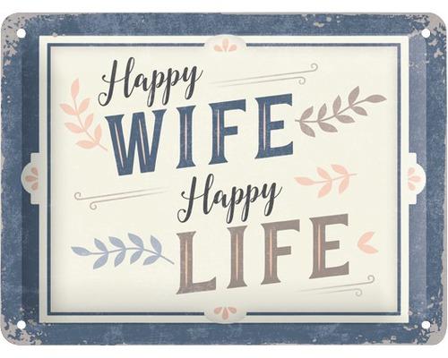 Plaque en tôle Happy Wife.. 15x20cm