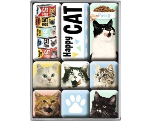 Kit d''aimants décoratifs Happy Cats 7pièces 9,3x2cm
