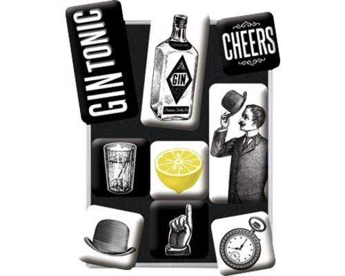 Kit d''aimants décoratifs Gin Tonic 7pièces 9,3x2cm