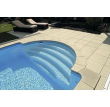 Bordure de piscine margelle Bergerac élément plat avec courbe intérieure pour arrondi de rayon 300 cm champagne 50 x 31 x 3,2 cm-thumb-1