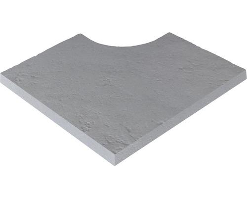 Bordure de piscine margelle Margo élément plat avec angle intérieur pour arrondi de rayon 15 cm gris 49,5 x 31 x 3,2 cm