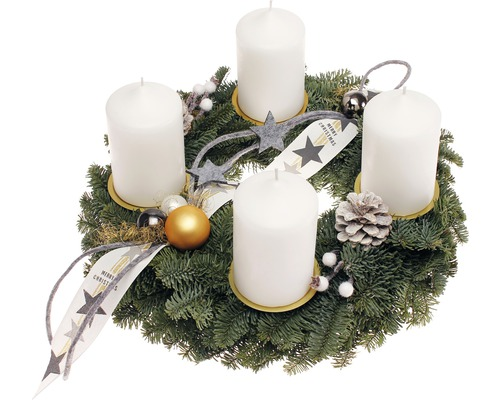Couronne de l''Avent avec bougies pilier Ø 35 cm blanc