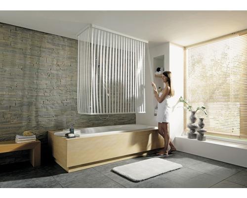 Store de douche d''angle avec cassette et store Kleine Wolke 138 + 62x240cm blanc 100