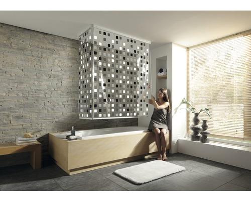 Store de douche d''angle avec cassette et store Kleine Wolke 138 + 62x240cm gris 110