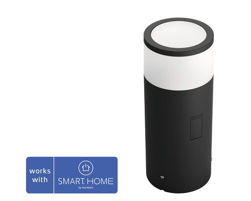 Kit de base de borne extérieure LED Philips hue White & Color Ambiance 8W 640 lm noir h 252 mm - compatible avec SMART HOME by HORNBACH