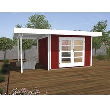 Abri de jardin Designhaus 126 A+ weka taille 1 dimension de passage élevée 195 cm, avec plancher et toit en appentis 442 x 240 cm rouge-thumb-0