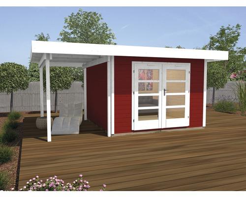 Abri de jardin Designhaus 126 A+ weka taille 1 dimension de passage élevée 195 cm, avec plancher et toit en appentis 442 x 240 cm rouge-0