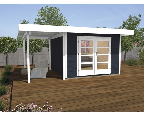 Abri de jardin Designhaus 126 A+ weka taille 1 dimension de passage élevée 195 cm, avec plancher et toit en appentis 442 x 240 cm anthracite-0