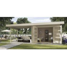 Abri de jardin Designhaus 126 B+ weka taille 2 dimension de passage élevée 195 cm, avec plancher et toit en appentis 590 x 300 cm naturel-thumb-0