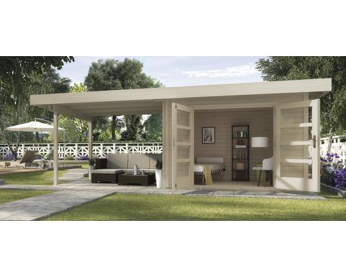 Abri de jardin Designhaus 126 B+ weka taille 2 dimension de passage élevée 195 cm, avec plancher et toit en appentis 590 x 300 cm naturel-0