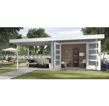 Abri de jardin Designhaus 126 B+ weka taille 2 dimension de passage élevée 195 cm, avec plancher et toit en appentis 590 x 300 cm gris-thumb-0