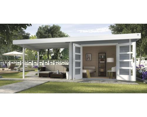 Abri de jardin Designhaus 126 B+ weka taille 2 dimension de passage élevée 195 cm, avec plancher et toit en appentis 590 x 300 cm gris-0