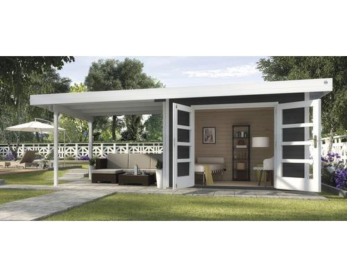 Abri de jardin Designhaus 126 B+ weka taille 2 dimension de passage élevée 195 cm, avec plancher et toit en appentis 590 x 300 cm anthracite-0