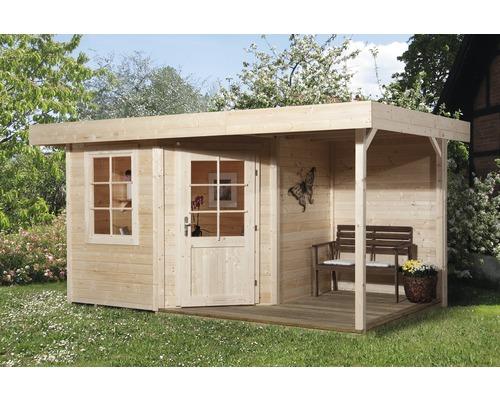 Abri de jardin Designhaus 213 A+ weka taille 1 dimension de passage élevée 195 cm, avec plancher et toit en appentis 385 x 238 cm naturel