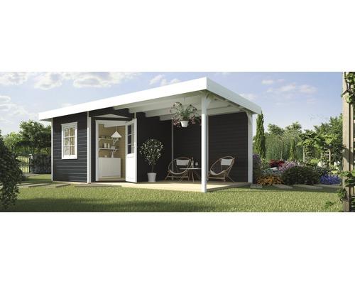 Abri de jardin Designhaus 213 B+ weka taille 1 dimension de passage élevée 195 cm, avec plancher et toit en appentis 533 x 238 cm anthracite-0