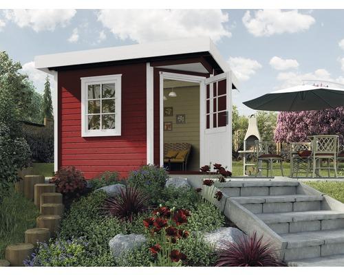Abri de jardin Designhaus 213+ weka taille 2 dimension de passage élevée 195 cm, avec plancher 298 x 298 cm rouge-0