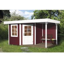 Abri de jardin Designhaus 213 A+ weka taille 2 dimension de passage élevée 195 cm, avec plancher et toit en appentis 442 x 295 cm rouge-thumb-0