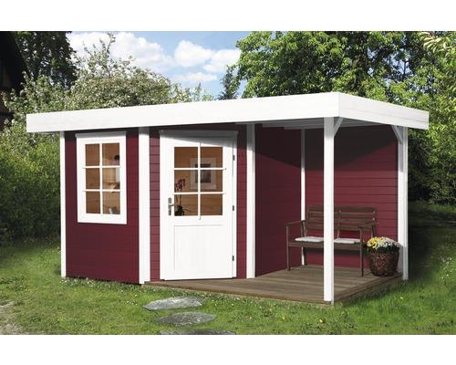 Abri de jardin Designhaus 213 A+ weka taille 2 dimension de passage élevée 195 cm, avec plancher et toit en appentis 442 x 295 cm rouge-0