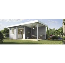 Abri de jardin Designhaus 213 B+ weka taille 2 dimension de passage élevée 195 cm, avec plancher et toit en appentis 593 x 298 cm gris-thumb-0
