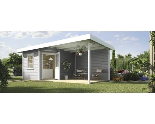 Abri de jardin Designhaus 213 B+ weka taille 2 dimension de passage élevée 195 cm, avec plancher et toit en appentis 593 x 298 cm gris-0