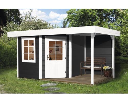 Abri de jardin Designhaus 213 A+ weka taille 2 dimension de passage élevée 195 cm, avec plancher et toit en appentis 442 x 295 cm anthracite-0