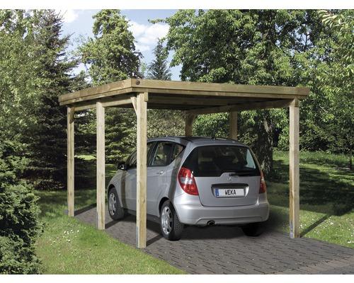 Carport simple weka 617 taille 1 sans couverture de toiture 322x512cm traité en autoclave par imprégnation