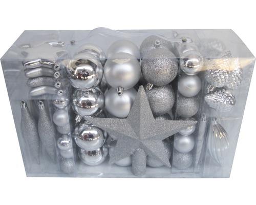 Boules de Noël lot de 104 ø argent
