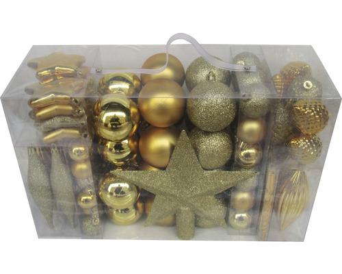 Boules de Noël lot de 104 plastique or