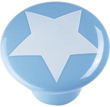 Bouton de meuble plastique bleu clair étoile blanc, 1pièce-thumb-0