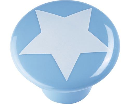 Bouton de meuble plastique bleu clair étoile blanc, 1pièce-0
