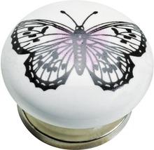 Bouton de meuble porcelaine acier papillon, 1pièce-thumb-0