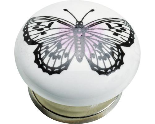 Bouton de meuble porcelaine acier papillon, 1pièce-0
