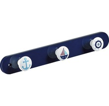 Portemanteau à 3accroches blanc et bleu marine, 1pièce-thumb-0