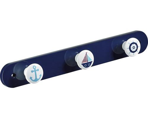 Portemanteau à 3accroches blanc et bleu marine, 1pièce-0