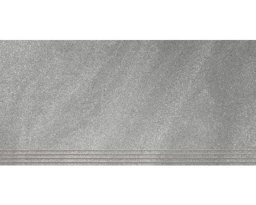 Marche en grès cérame fin Helios gris mat 30 x 60 cm