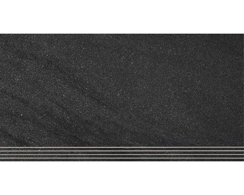 Marche en grès cérame fin Helios anthracite mat 30 x 60 cm-0