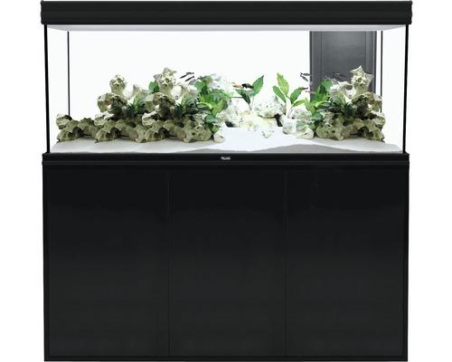 Kit complet d''aquarium aquatlantis Fusion 150 2.0 avec éclairage LED, filtre, chauffage, meuble bas noir
