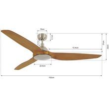 Ventilateur de plafond chrome brossé aspect teck Airfusion Type A BC Ø 154 cm avec télécommande-thumb-1