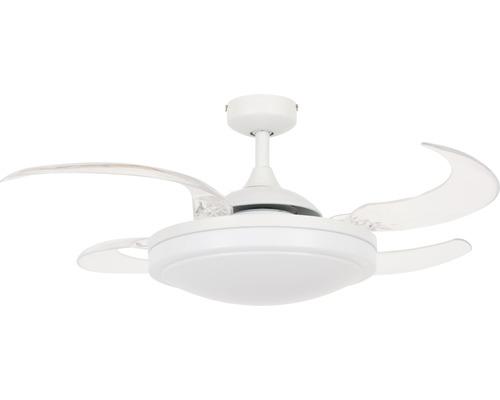 Ventilateur de plafond blanc transparent Fanaway Evora Ø 94 cm avec télécommande + pales rabattables, fonction été + hiver